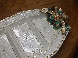 Fitz & Floyd Christmas SNOWY WOODS 3 Part Relish Serving Tray Large 17.75 MINT