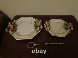 Fitz & Floyd Snowy Woods 2 Tiered Serving Tray Plates Hexagon Shape