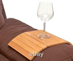 Flexible Wooden Sofa Arm Rest Armchair Tray Drink Snack Holder Serving Table