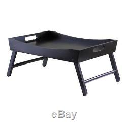 Foldable Wooden Breakfast Tray Serving Laptop Computer Table Folds Leg Bed Black