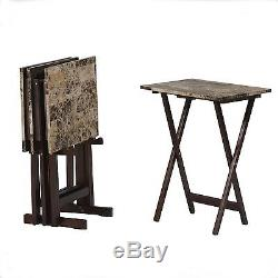 Folding Dinner Stand TV Tray Table Set Serving Portable Television Trays Wood