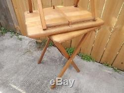 Folding TV Tray Table 2Pc Set Snack Dinner Serve Furniture Stand HEAVY DUTY WOOD