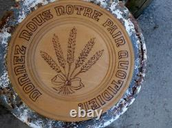 French Carved Wood CHEESE BREAD BOARD Tray Folk Art Prayer Donnez-nou Notre Pain