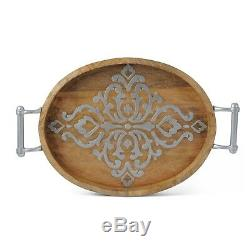 GG Collection Gracious Goods Wood Tray/Metal Inlay, 20.75 Heritage Collection