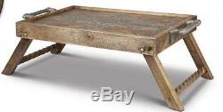 GG Collection Heritage Wood Metal Inlay Serving/ Bed Tray Gracious Goods
