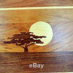 Genuine Teak Wood Tree Sun Inlay Tray Handles 13 x 19 Rectangular Serving