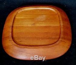 George Jensen Henning Koppel Teak Solid Wood Serving Tray MCM Signed Denmark