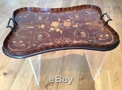 Georgian Mahogany Floral inlay with multi-colour gallery Butlers Serving Tray