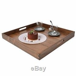 Glitz Star 19 x inches Large Square Wooden Solid Serving Tray with Handle Black