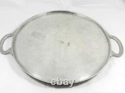 HTF Arte Italica Marinoni 12 Round Tray Platter with Handles Pewter with Wood Top