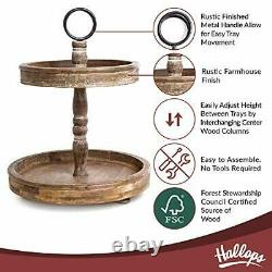 Hallops 2 Tiered Tray Stand Two Tier Tray Wood Farmhouse Rustic Vintage Dec