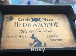Halloween Hardwood Heavy Serving Tray HP OOAK Witch Herb Hand Painted Vintage Re