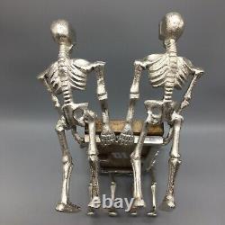 Halloween Metal Skeletons Holding Serving Wood Platter Tray Walking Dead Decor