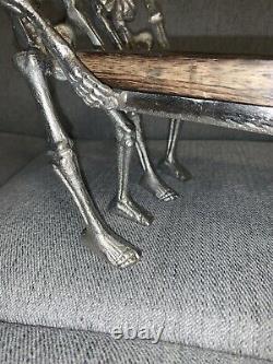Halloween Silver Metal Skeletons Holding Platter Wood Tray New 16