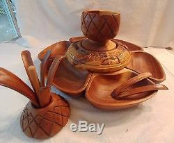Hand Carved Acacia Wood Serving Tray 18 PC Pineapple Set