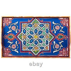 Hand Painted Decorative Tray, Moroccan Rustic Wood Green tray, Serving Tray Wood