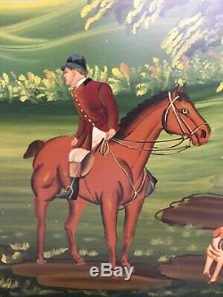 Hand Painted Hunting Scene Wooden serving tray breakfast tea kitchen lap table