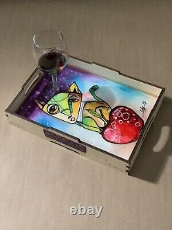 Hand Painted Wooden Serving Tray with Handles 12X 8.7 Cuban Art By LISA