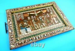 Handcrafted Egyptian INLAID Mother Of Pearl, Bone, Brass, Wood Serving Tray