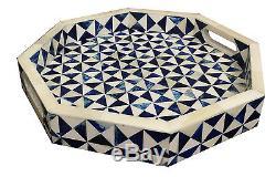 Handicrafts Home 12x12 Octagon Multi Decorative Tray Breakfast Coffee Table Top