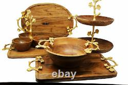 Handmade Acacia wood 100% Natural 7 pieces serving tray and Bowl Charcuterie