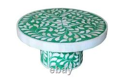 Handmade Antique Style Bone Inlay Floral Design Cake Stand Serving Tray Green