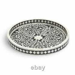 Handmade Black Floral Wooden Bone Inlay Decorative Serving Tray
