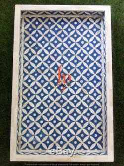 Handmade Bone Inlay Rectangle Tray Beautifully Crafted Tray Serving Tray