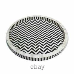 Handmade Bone Inlay Round Tray Decorative Serving Tray Best Gift For Your Favori
