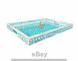 Handmade Bone Inlay Tray Beautiful Floral Design Modern Art Serving Tray