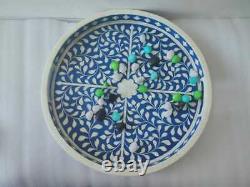 Handmade Bone Inlay Tray Decorative Serving Round Tray Beautiful Kitchen Tray