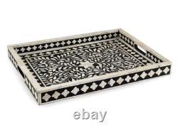 Handmade Bone Inlay Tray Decorative Serving Tray Beautifully Crafted Tray