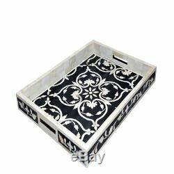 Handmade Bone Inlay Tray Decorative Serving Tray Best Home Decor Purpose