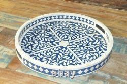 Handmade Bone Inlay Tray Decorative Serving Tray Best Home Decor Purpose Round