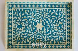 Handmade Bone Inlay Tray Flower Design Serving Tray Home Decor Purpose