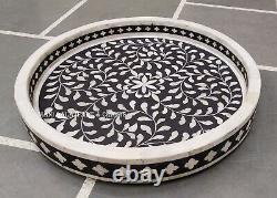 Handmade Bone Inlay Tray Round Tray Decorative Serving Tray Free Shipping Gift