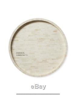 Handmade Bone Inlay White Round Tray Decorative Serving Tray Home Decor Purpose