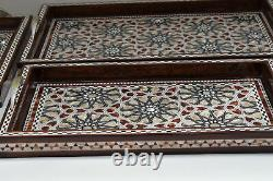 Handmade Decorative Wood Serving Tray Set, Mother of Pearl Inlay, Breakfast Tray