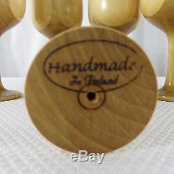 Handmade Finland Wood Turned Danish Modern 5 Wine Goblet Serving Tray Set