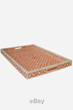 Handmade Indian camel Bone Inlay Modern Antique Wooden Furniture Serving Tray