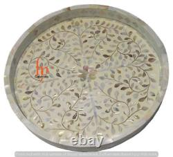 Handmade Mother Of Pearl Inlay Tray Decorative Serving Round Tray Floral Tray