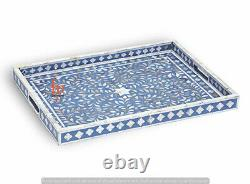 Handmade Mother Of Pearl Inlay Tray Decorative Serving Tray Beautifully Crafted