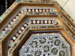 Handmade Serving wood Tray inlaid Mother of Pearl Set of 3