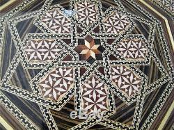Handmade Syrian Inlaid Mosaic Wooden Serving Tray Inlay Wood Octagonal MOP