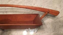 Handmade Vintage Solid Cherry Wood Asian Style Handled Serving Tray Basket
