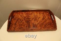 Handmade Wooden Tray Made Of Thuya Burl, Serving Tray Wood, Rectangular Wood Dish