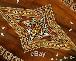 Handmade Wooden Tray Mosaic Inlay with Pearls Moroccan Syrian Serving Decor Tray