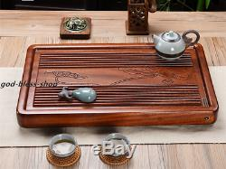 Handmade carved lotus tea tray solid wood engraved water lily water draining new