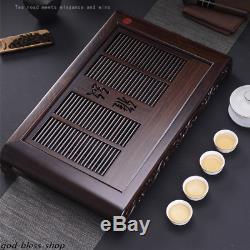 Handmade carved tea tray ebony tea table solid wood tea board wooden with layers