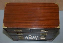 Harrods Kennedy Military Campaign Small Chest Of Drawers + Butlers Serving Tray